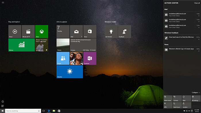 Windows Action Center in action