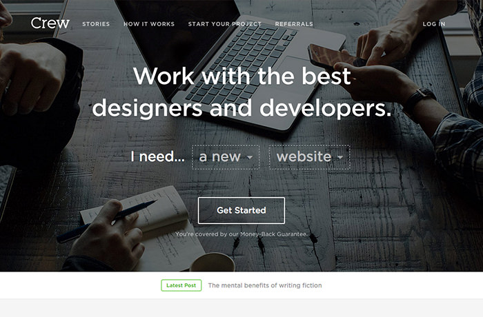 Crew.co frontpage