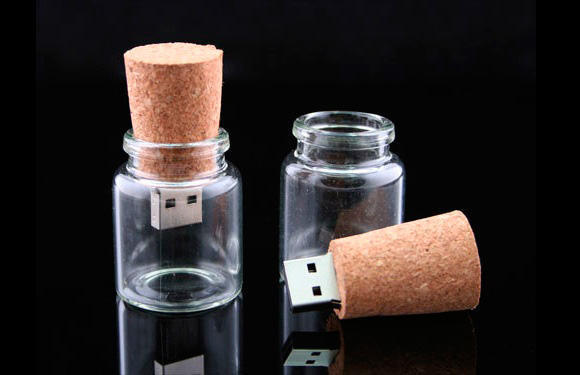 Empty Bottle with Cork USB Drive