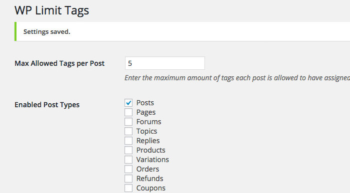 WP Limit Tag Setting and Options