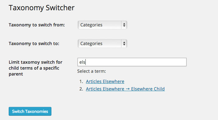 Switch between category and tag