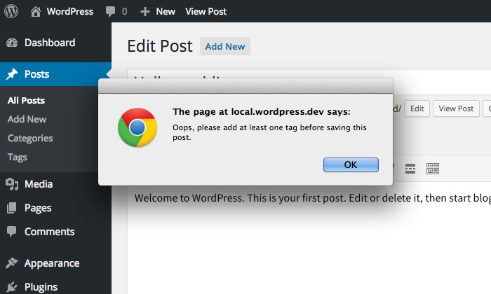 WP Require Tags Popup