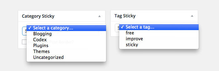 Sticky Category and Tag Selection