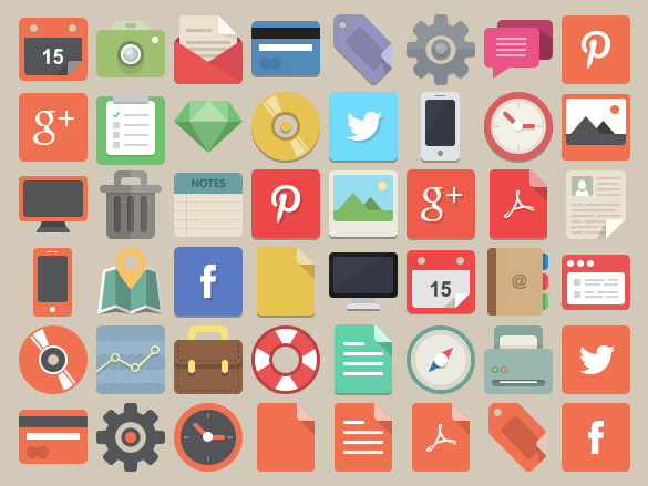 48 Flat Design Icons Pack
