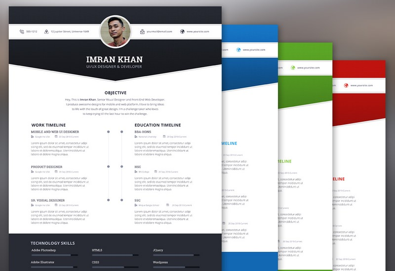 4 Colors Resume PSD Template
