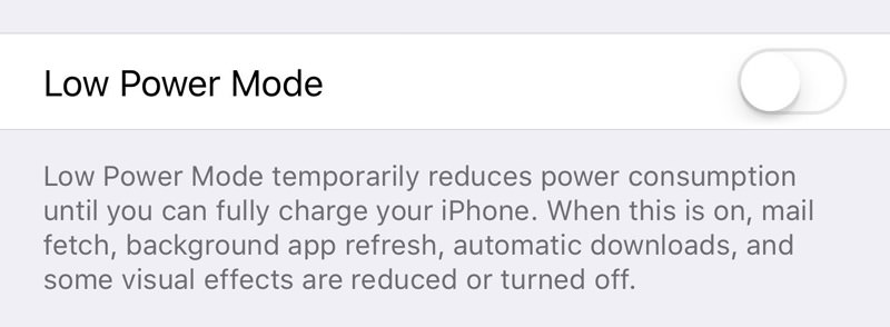 battery low power mode