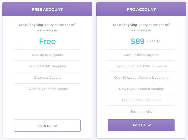 Clean Pricing Table PSD Template