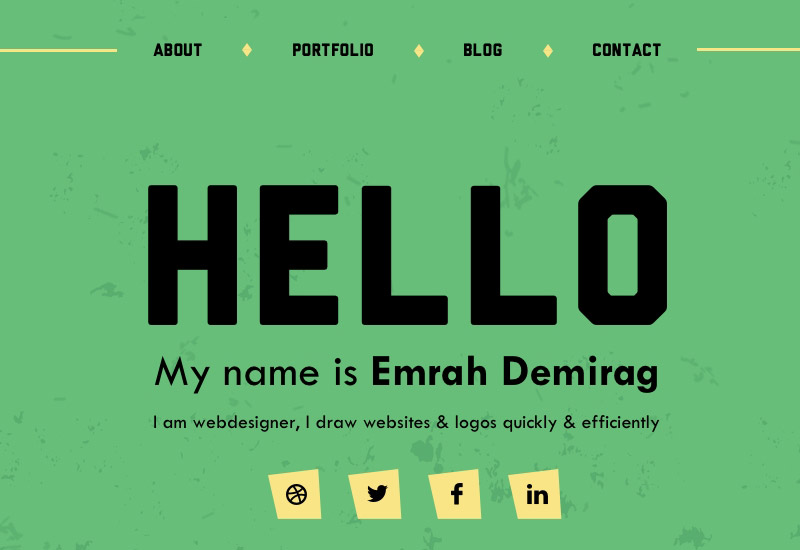One Page Personal Portfolio Sketch Template