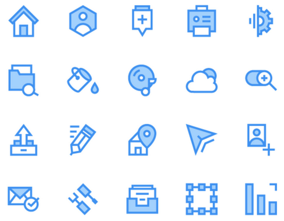40 Blue and Green Outline Icons Pack