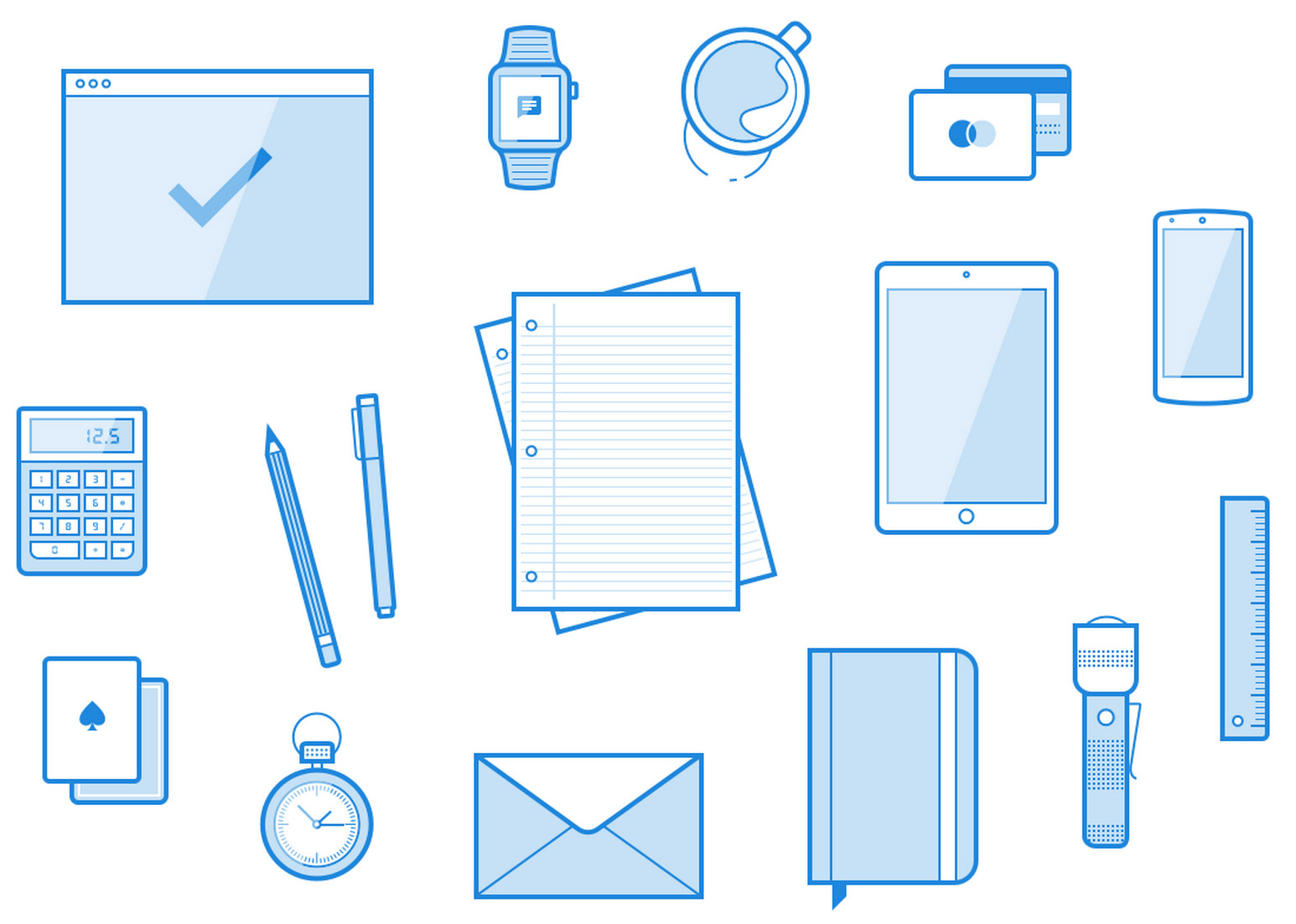 16 Line Style Workspace Element Vector Illustrations