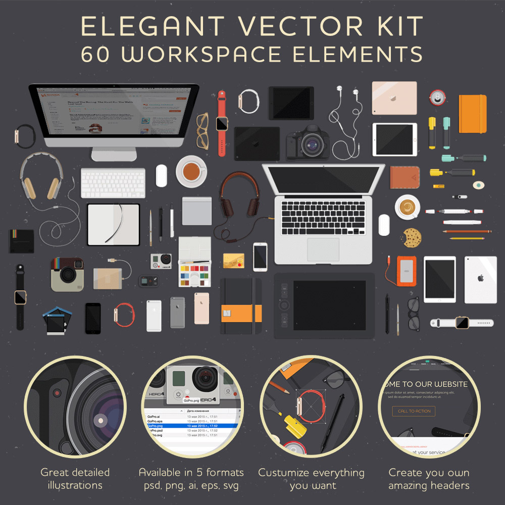 A Workspace Elements Vector Illustrations Kit
