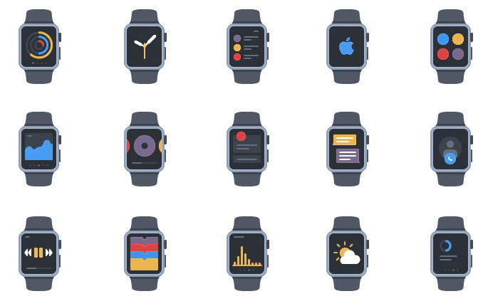 20 Apple Watch Flat Style AI Icons