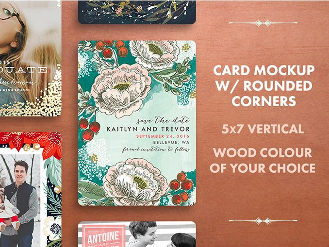 Rounded Corners Holiday Card Mockup