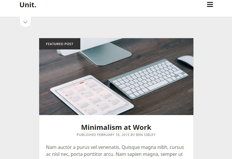Unit: Simple and Clean WordPress Theme