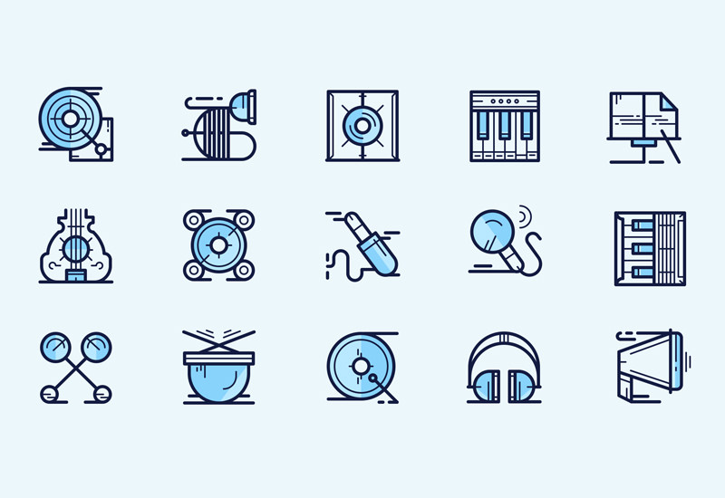 Music Icon: Multi-weight Line Icons