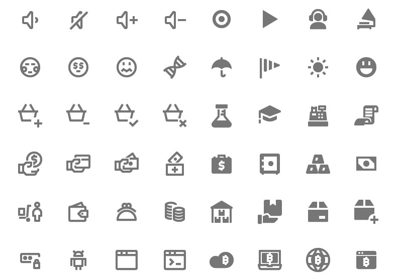 Line and Solid Material Design Icons Set