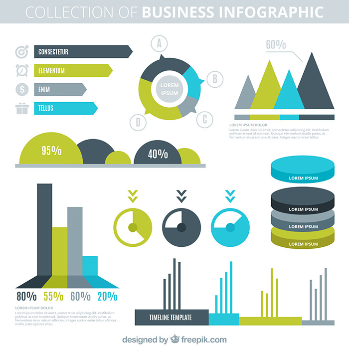 collection-of-company-infography-in-flat-design