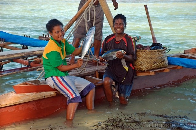 Thisfamily just sailed outrigger back from their vegetable garden, an overnight trip in open ocean