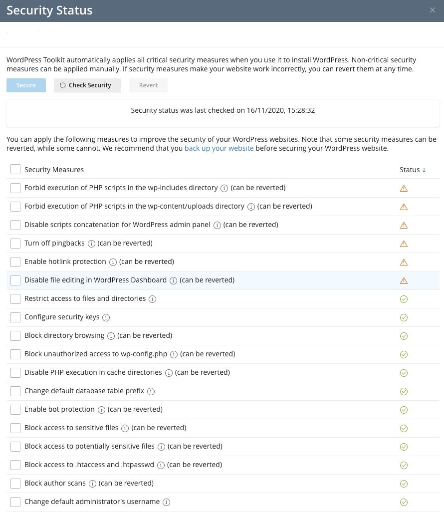 WordPress Toolkit Security Status