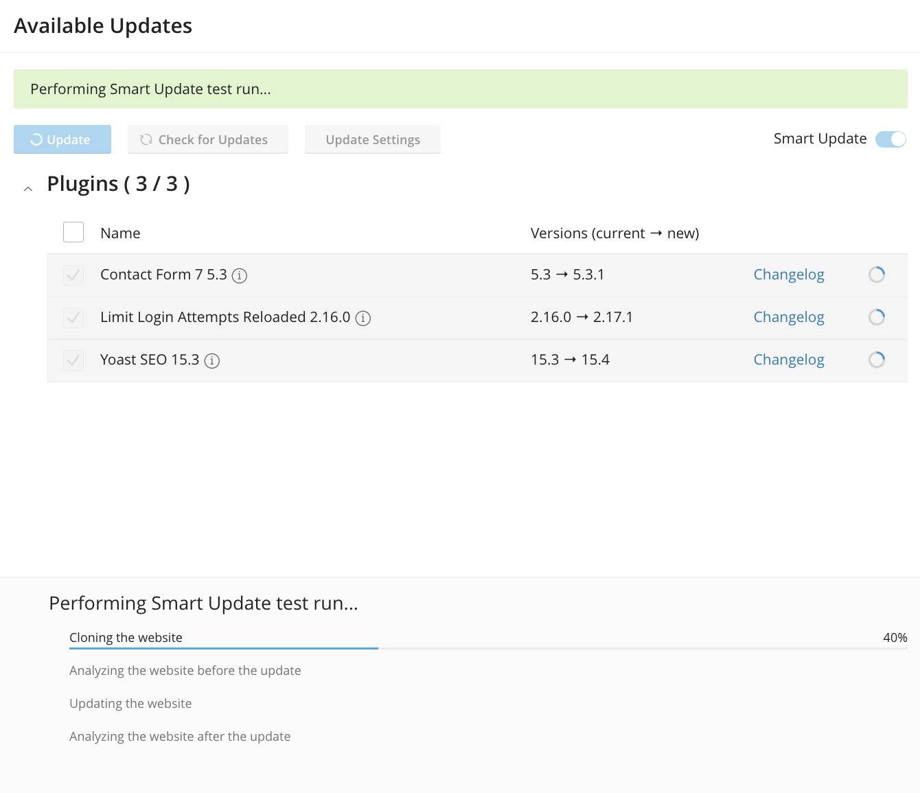 WordPress Toolkit Smart Update Test