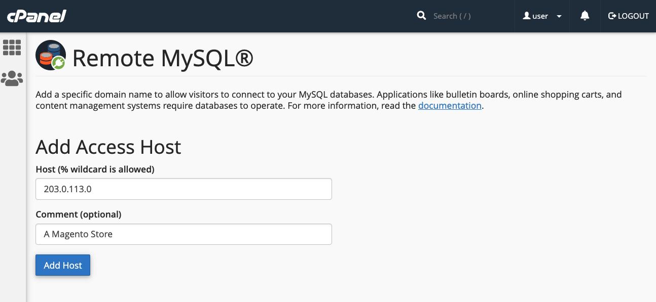 cPanel Remote MySQL Manager