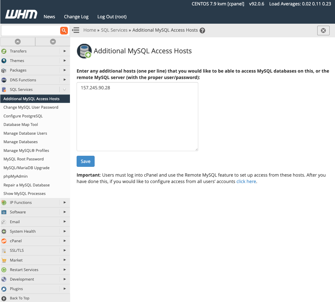 cPanel Additional Access Hosts
