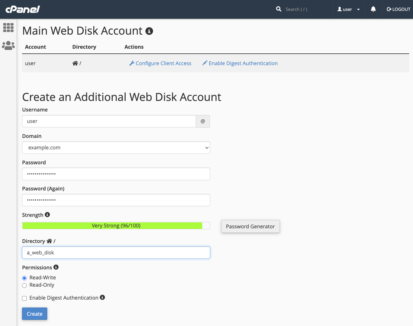 cPanel Additional Web Disk
