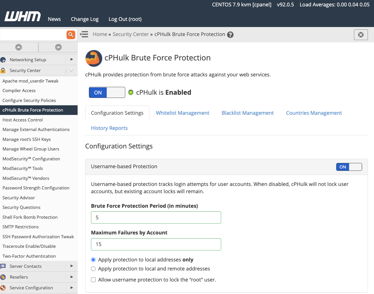 cPanel cPHulk Brute Force Protection