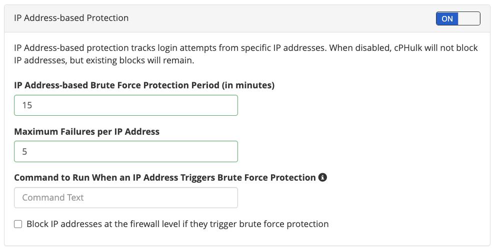 cPanel cPHulk IP based Brute Force