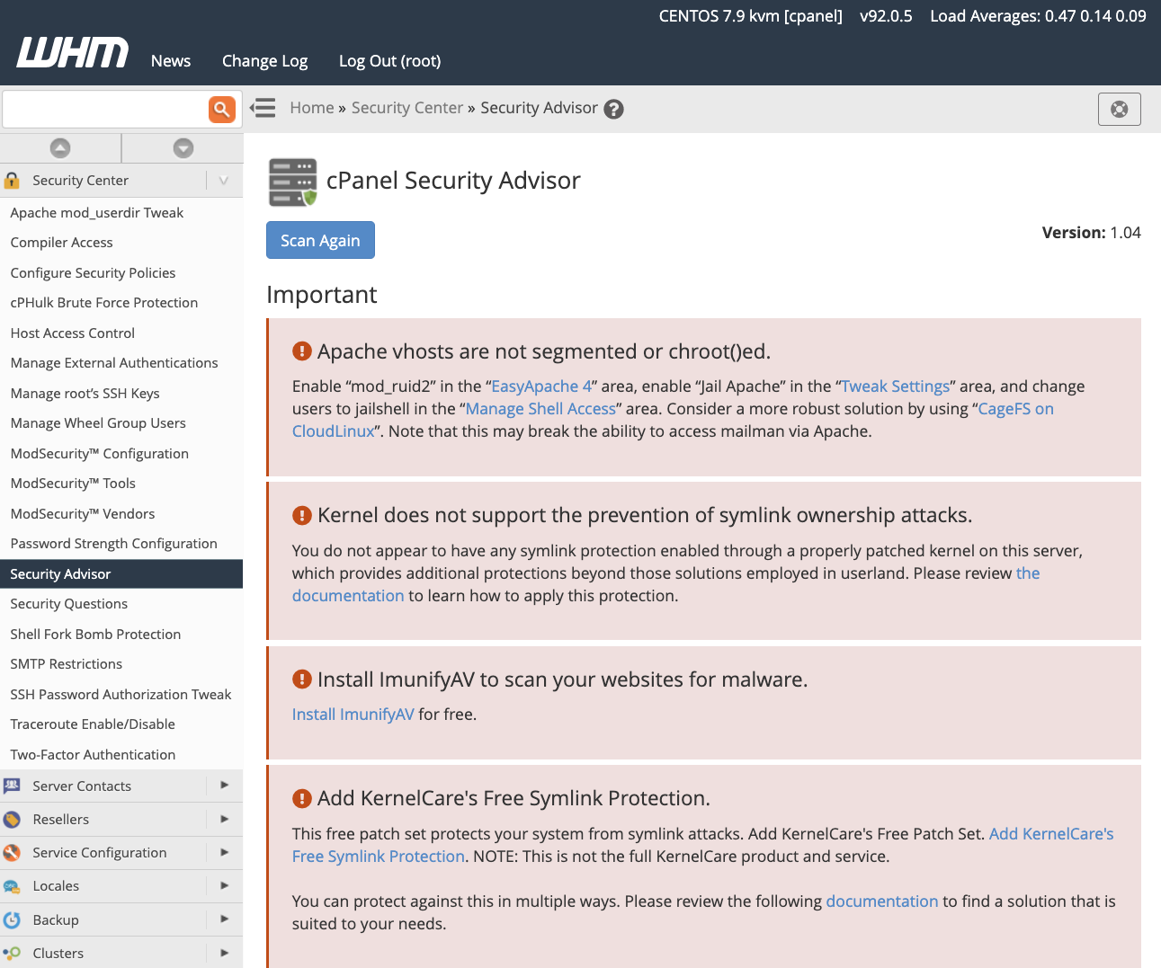 cPanel Security Advisor