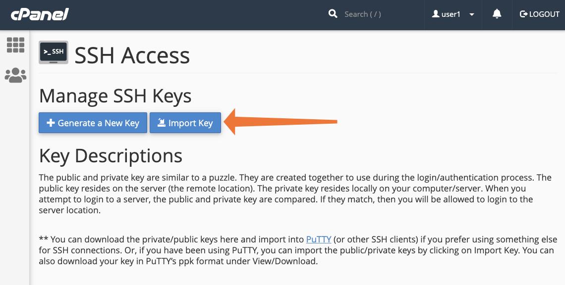 cPanel Import SSH Key