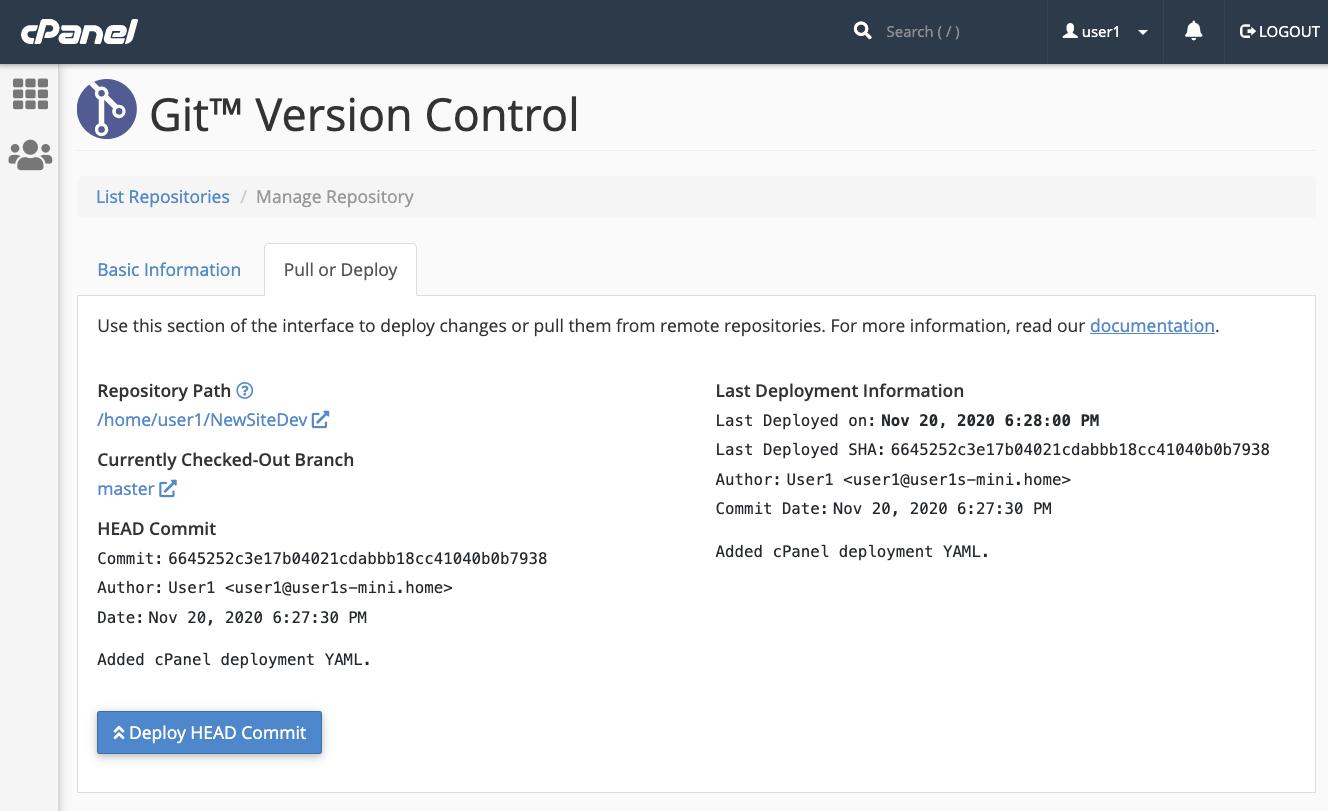 cPanel Git Version Control