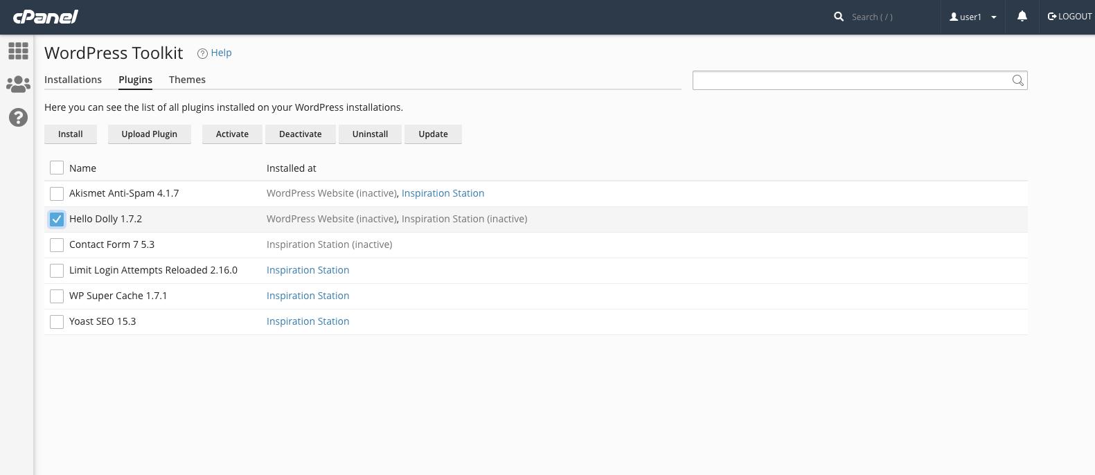 WordPress Toolkit for cPanel Bulk Uninstall Plugins