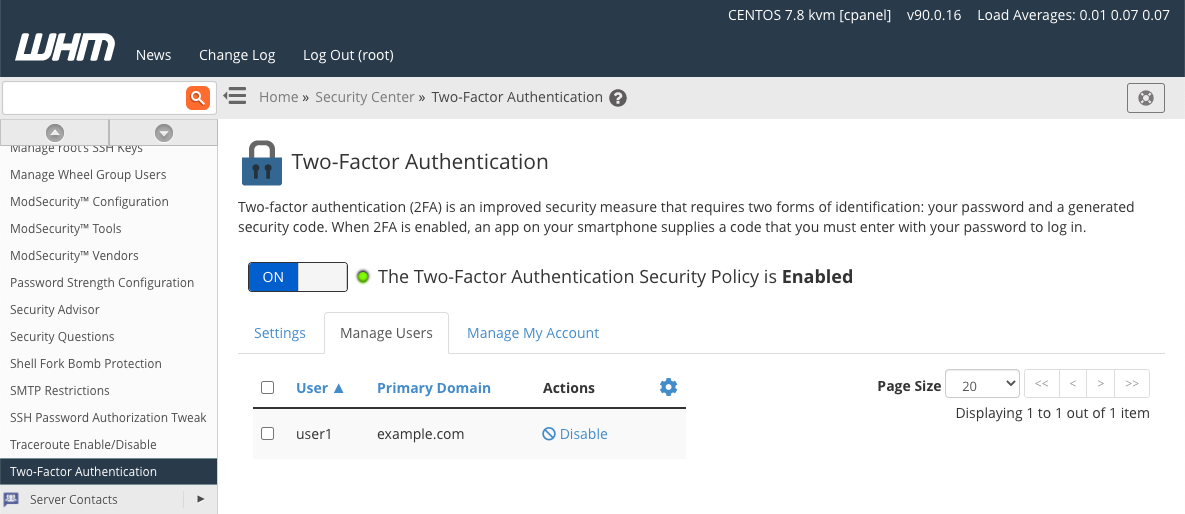 Manage Two Factor Authentication Users