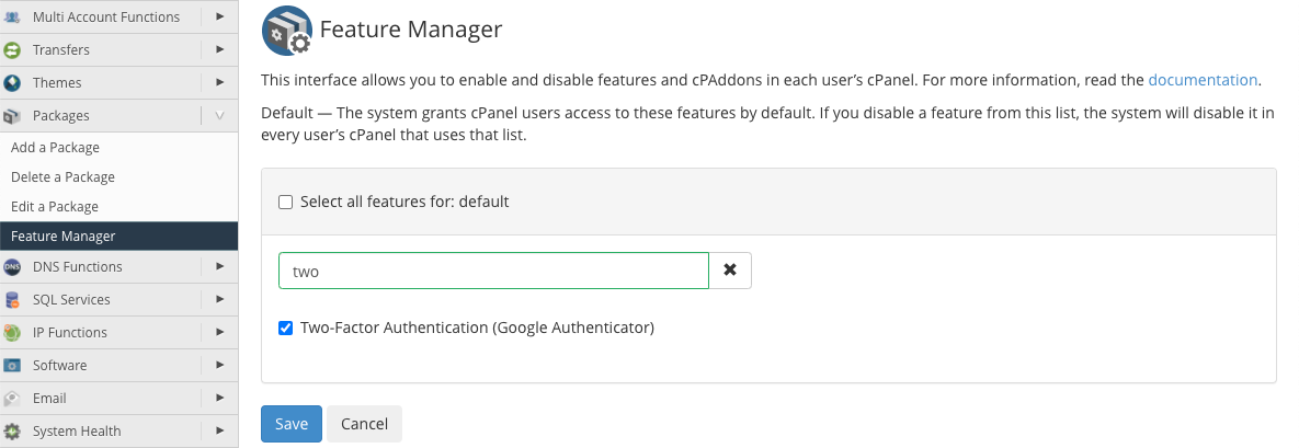 cPanel Add Two Factor Authentication To Default