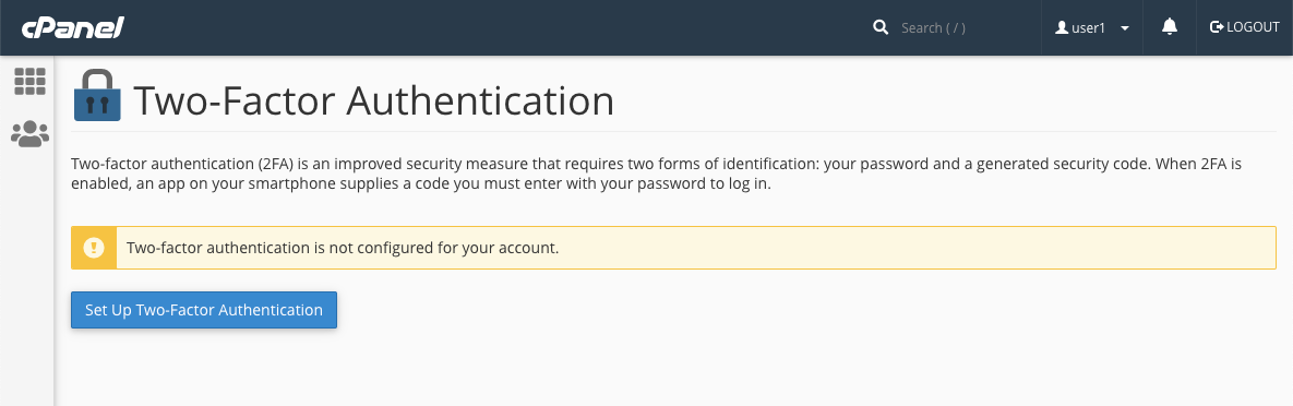 cPanel Set Up Two Factor Authentication