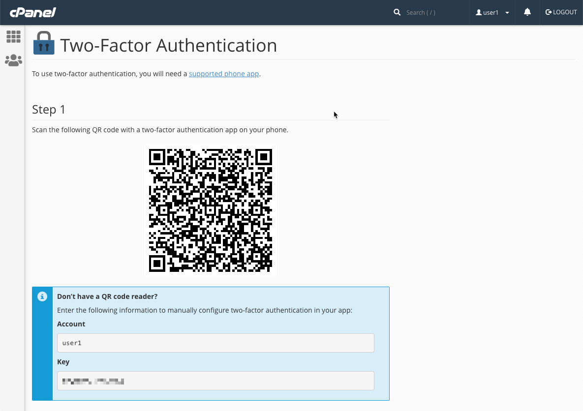 cPanel Add User To Two Factor Authentication