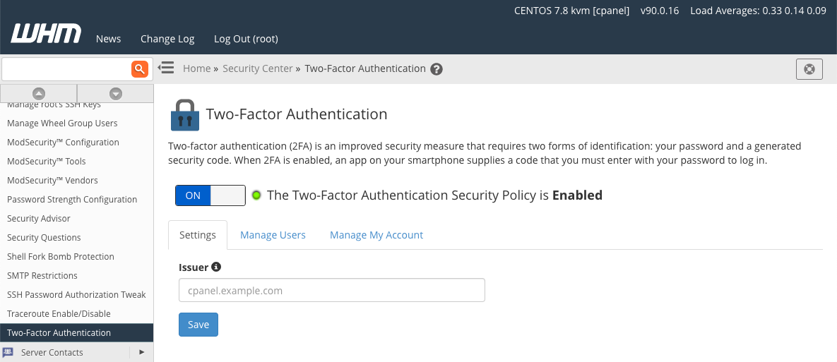 cPanel Activate Two Factor Authentication